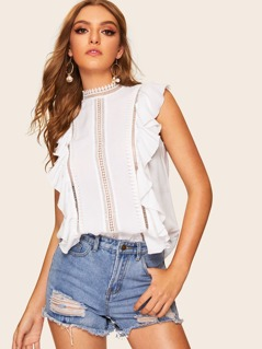 Lace Insert Ruffle Detail Top