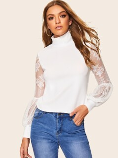 Mock Neck Lace Mesh Balloon Sleeve Top