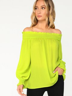 Neon Lime Shirred Trim Off Shoulder Top