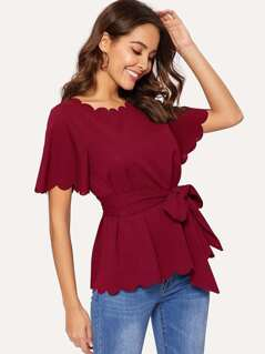 Scallop Trim Belted Top