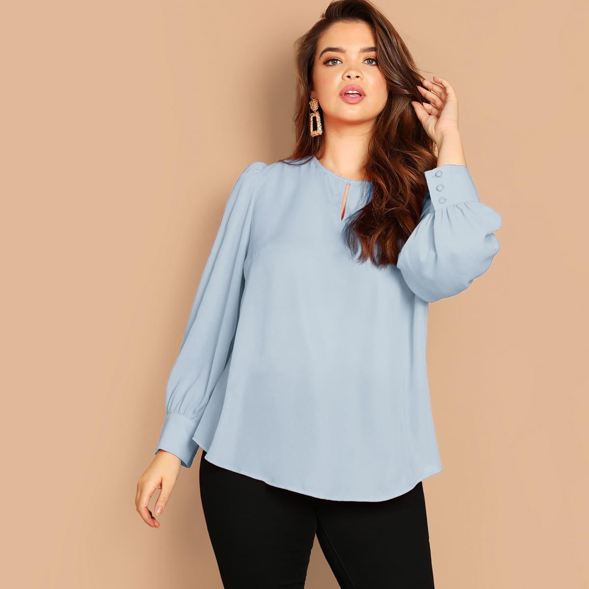 Размер Плюс Однотонная Блуза С Рукавом Присборенным На Манжетах