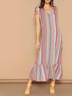 Self Tie Shoulder Ruffle Hem Striped Dress