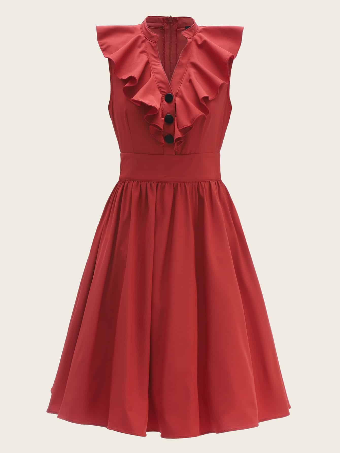 Купить Однобортное приталенное платье-клёш с оборкой, null, SheIn