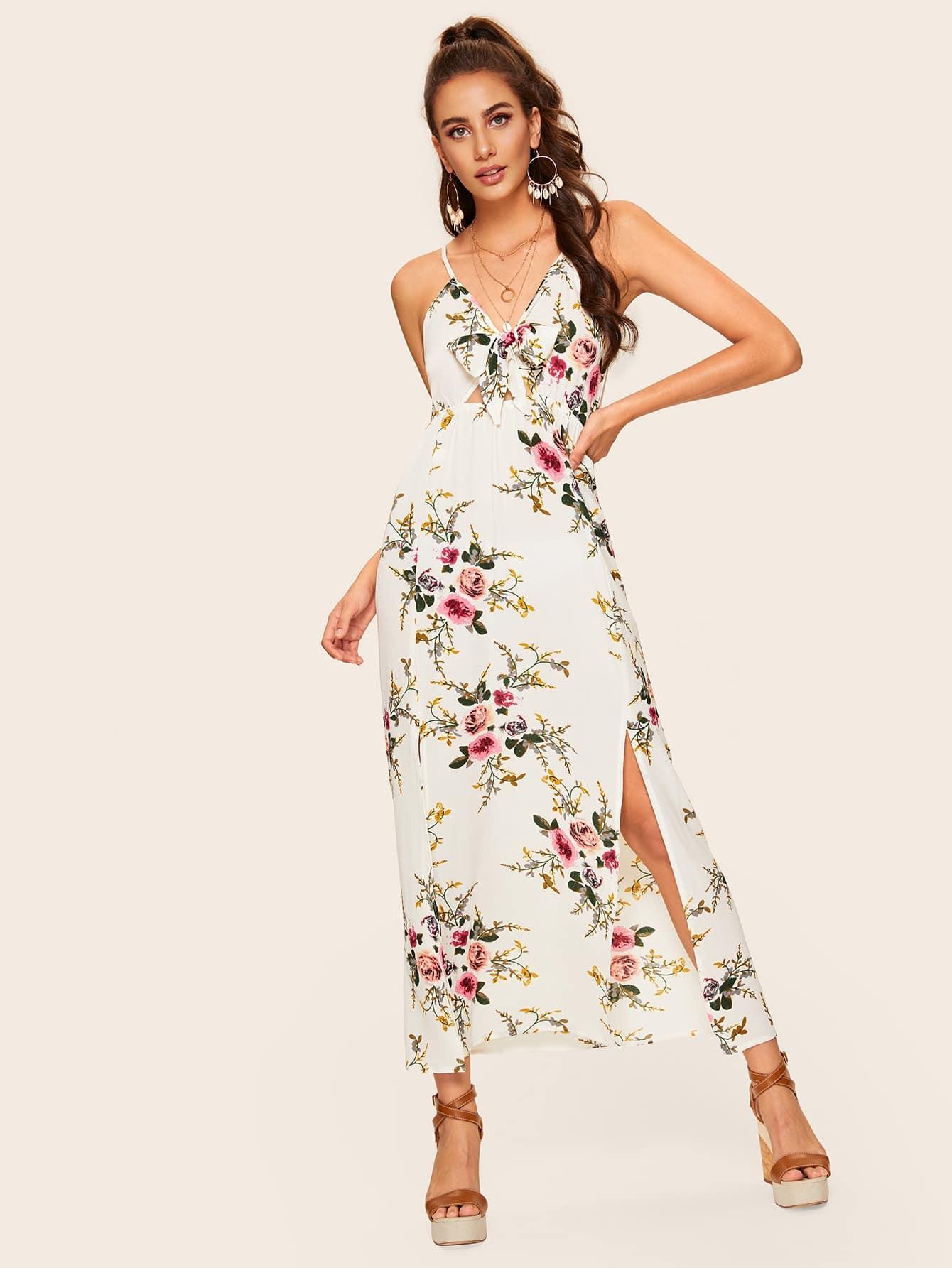 Купить Цветочное платье на бретелях с бантом и разрезом, Mariana D, SheIn