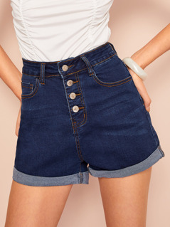 Rolled Up Hem Buttoned Up Denim Shorts