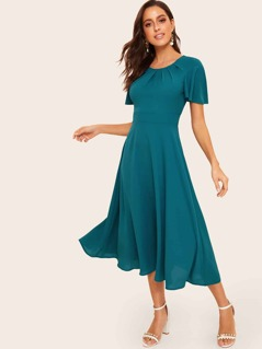 50s Flutter Sleeve Pleated Solid Dress
