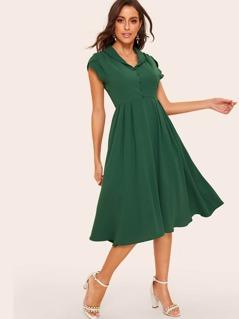 50s Single Breasted Petal Sleeve Pleated Dress