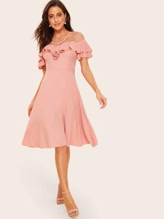 70s Ruffle Pleated Mesh Dot Yoke Dress