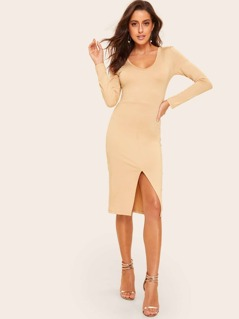 V-neck Solid Bodycon Split Dress