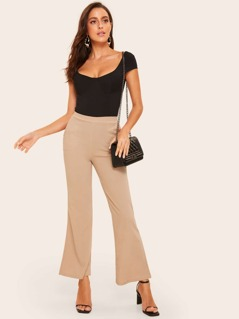 Slants Pocket Solid Flare Pants