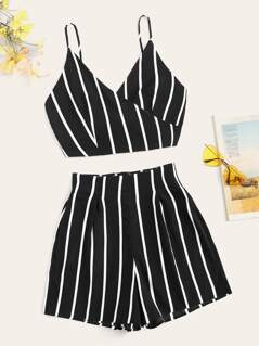 Knot Back Striped Wrap Cami & Boxed Pleated Shorts Set