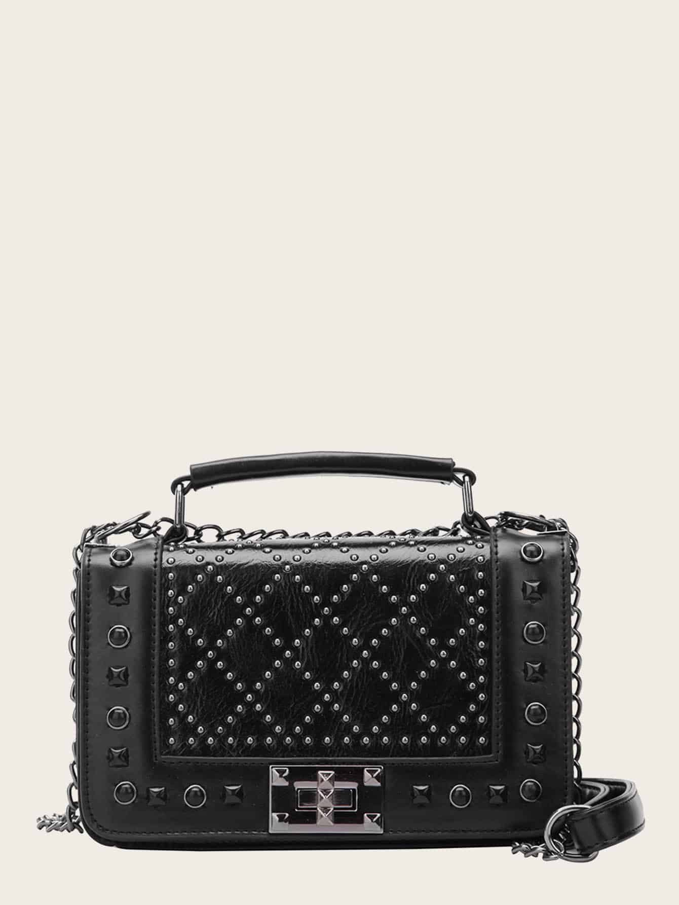 Studded Decor Satchel Chain Bag null