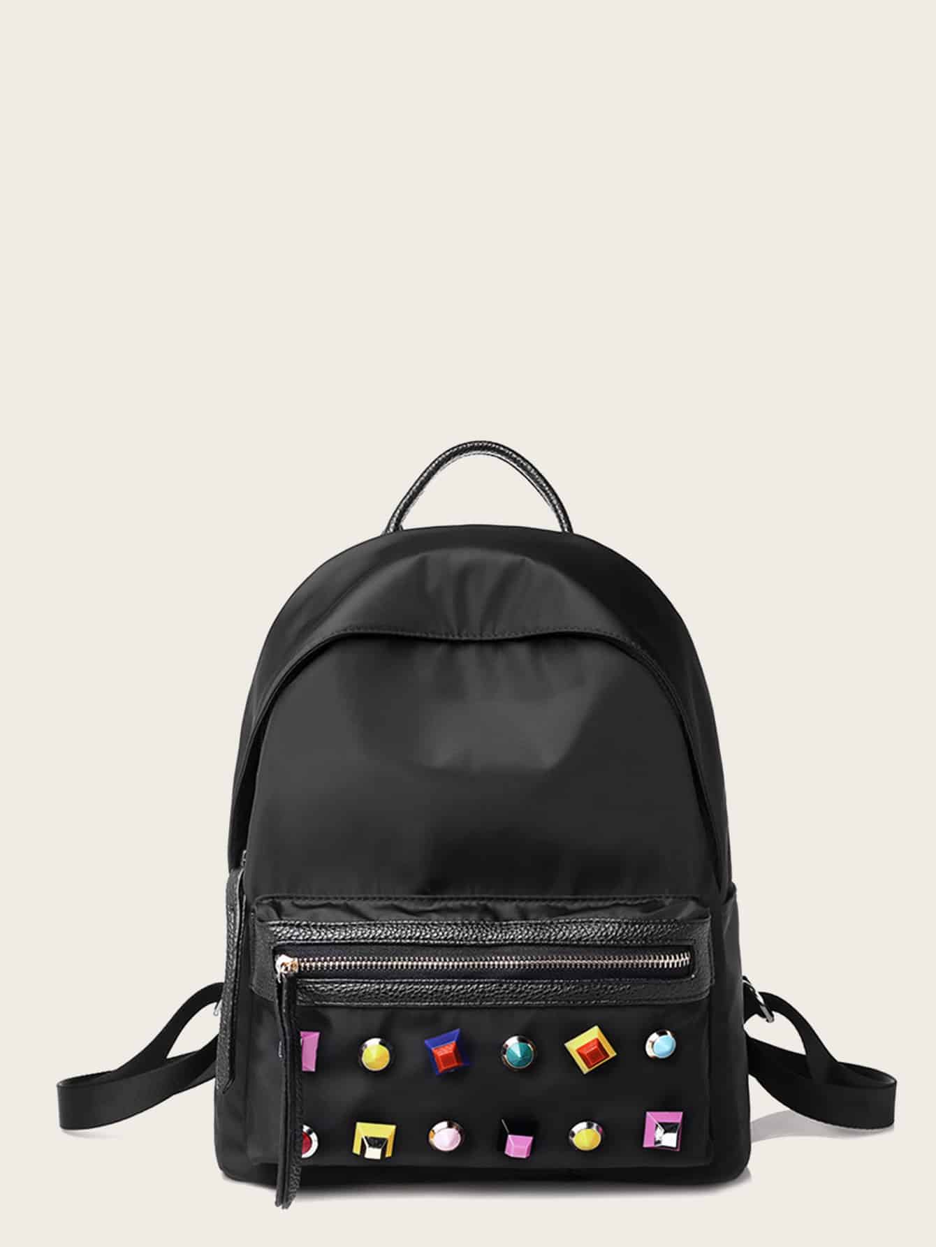 Studded Decor Nylon Backpack null