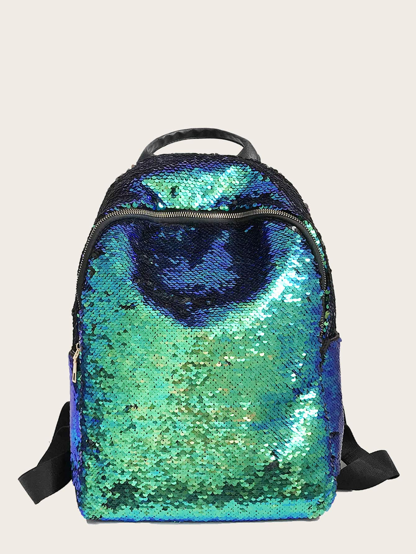 Contrast Sequins Decor Backpack null