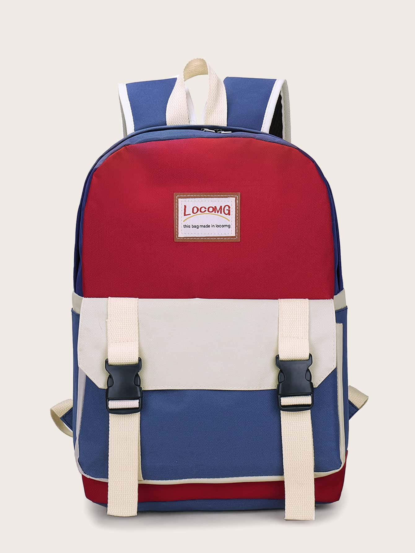 Color Block Double Strap Backpack null