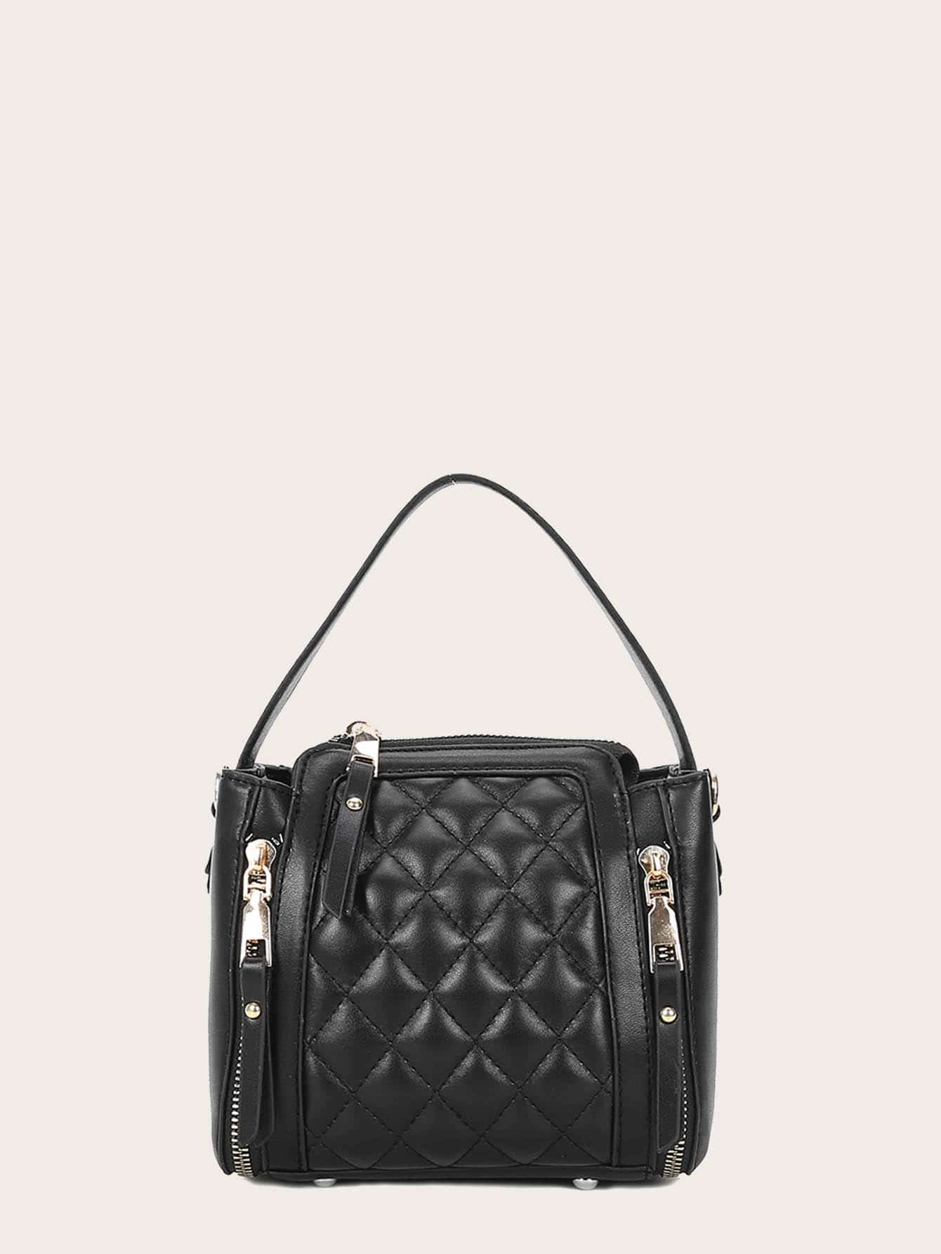Side Zipper Decor Quilted Satchel Bag null