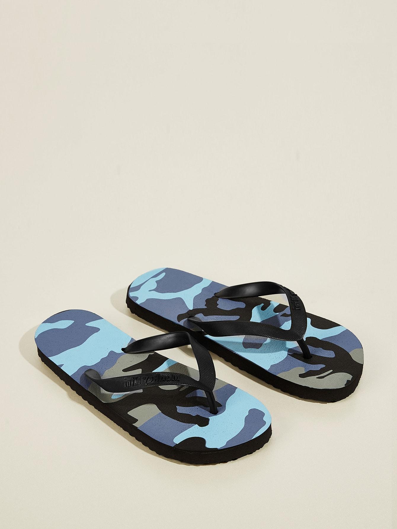 Men Camouflage Print Flip Flops null