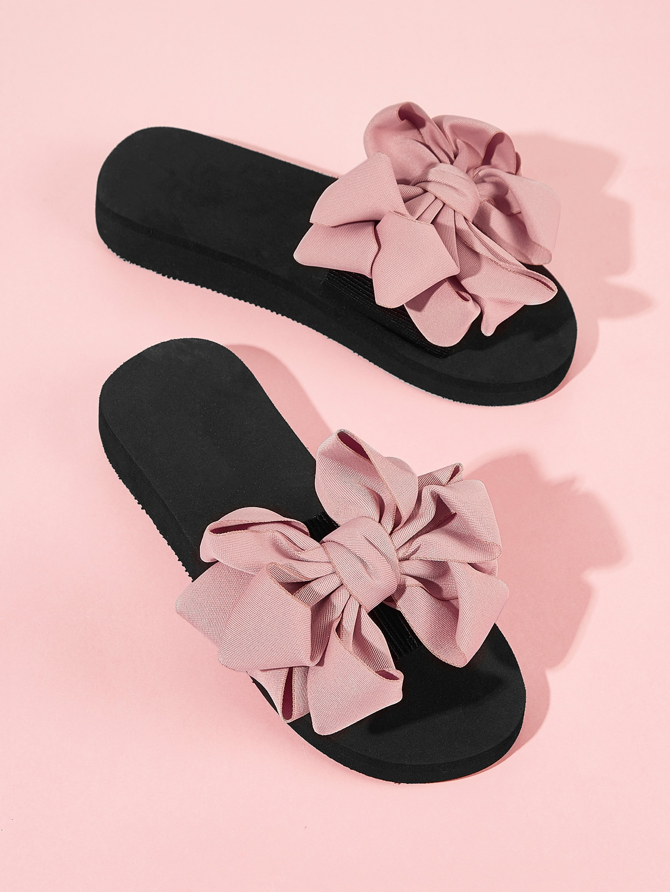 Bow Decor Open Toe Sliders null