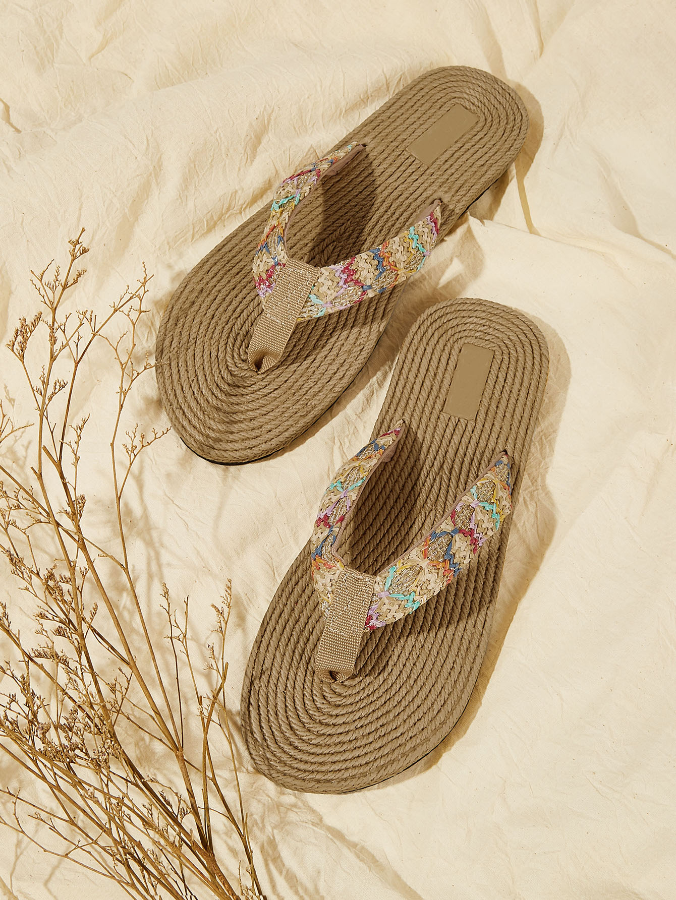 Plaited Detail Flip Flops null