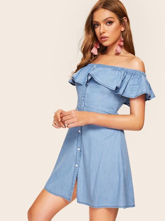 0b46a021823 Flounce Layered Neck Buttoned Denim Dress
