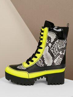 Platform Luge Sole Lace Front Snakeskin Boots