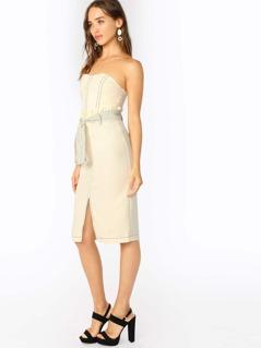 Strapless Stripe Belted Waist Front Slit Dress