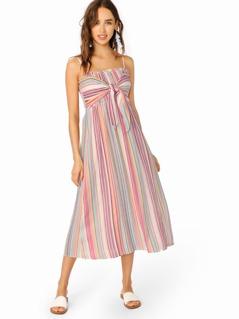 Spaghetti Strap Smocked Bodice Stripe Midi Dress