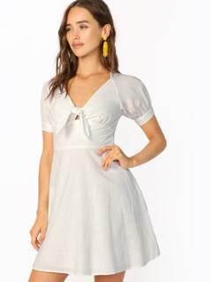 Tie Front V-Neck Short Sleeve Mini Dress