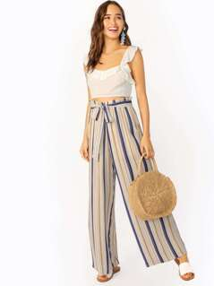 Waist Tie Striped Wide Leg Lounge Pants