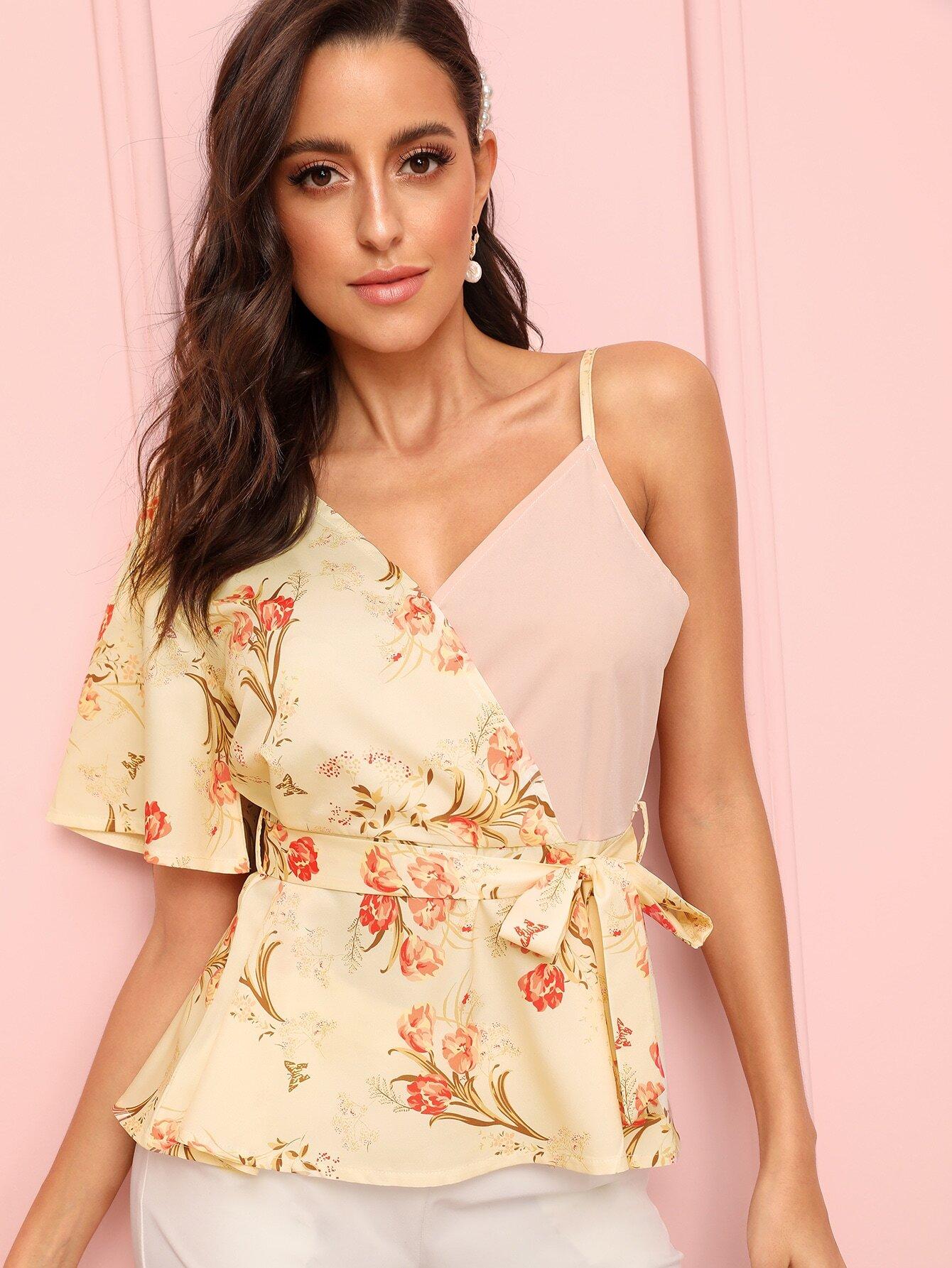 Купить Цветочная блуза с поясом и V-образным вырезом, Mary P., SheIn