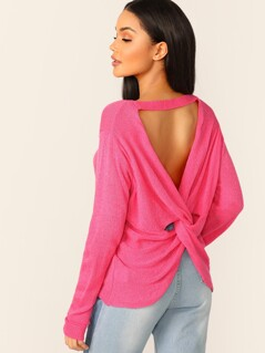 Back Cut Out Twist Pullover Jumper Knit Sweater