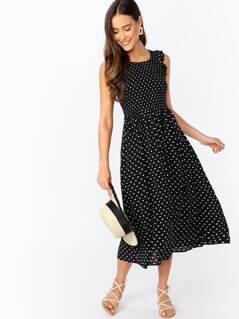 Smocked Bodice Ruffle Sleeve Polka Dot Midi Dress