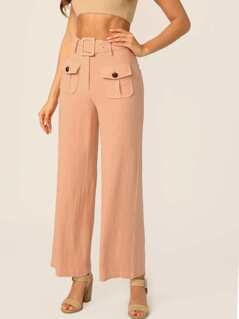 Belted Waist Double Front Pockets Wide Leg Pants