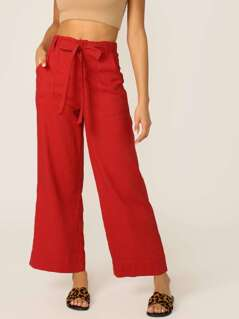 Waist Tie Straight Leg Cotton Pants