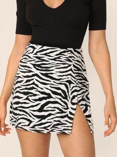 Side Slit Zebra Print Zipper Mini Skirt