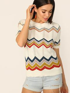 Chevron Zig Zag Striped Short Sleeve Sweater