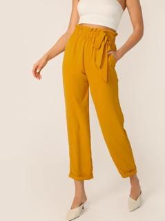 Paperbag Waist Tie Slim Fit Cuffed Hem Pants