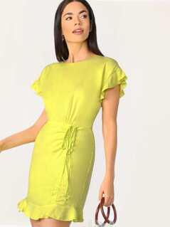 Ruffle Sleeves Shirred Detail Mini Dress