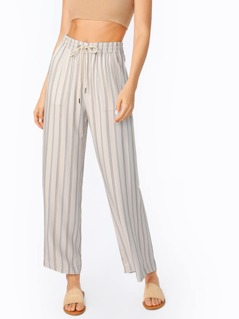 Elastic Drawstring Waist Striped Wide Leg Pants