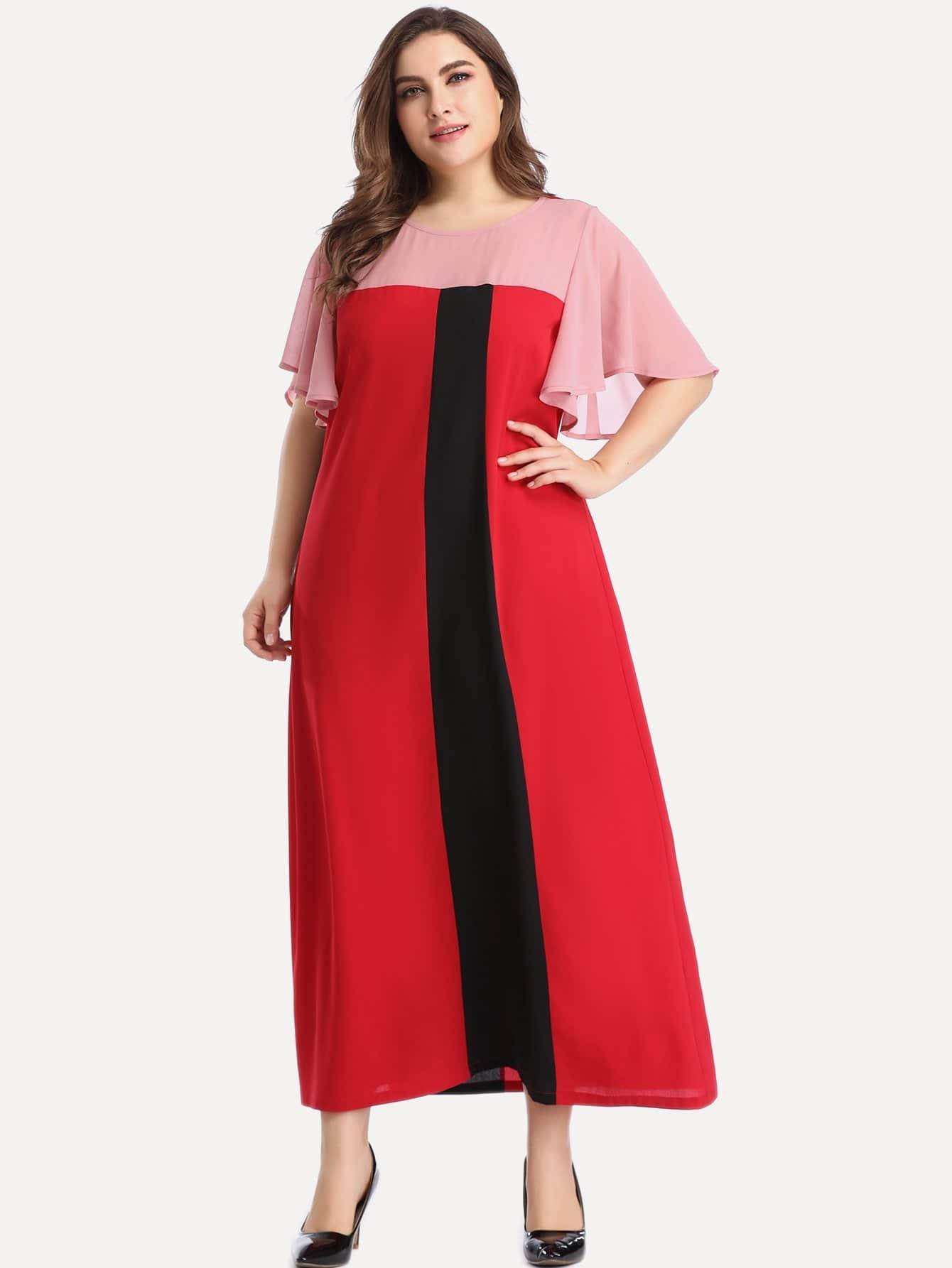 Фото - Размер плюс контрастное длинное платье от SheIn цвет многихцветные