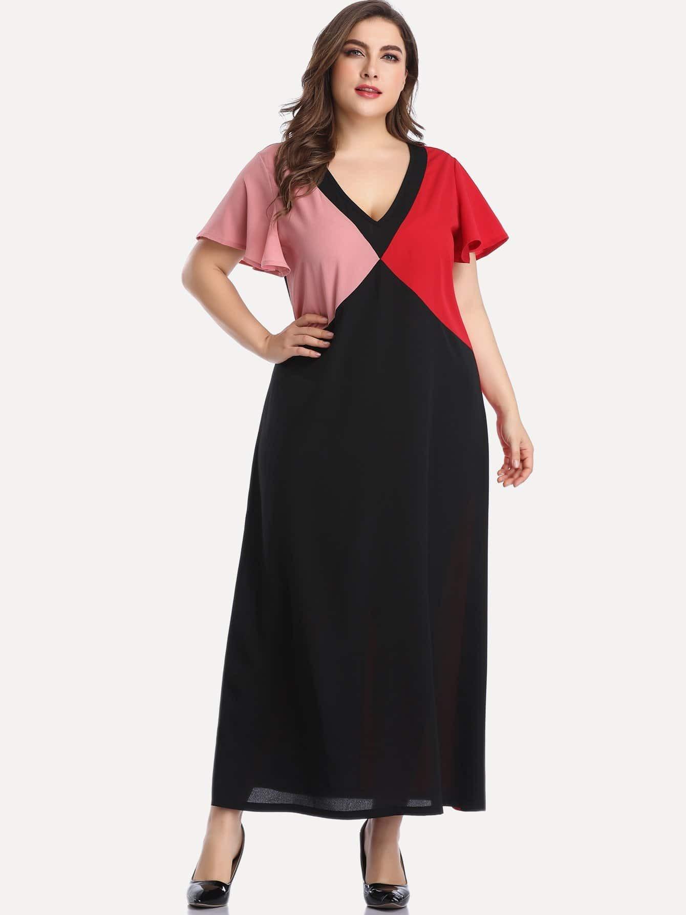 Фото - Размер плюс контрастное длинное платье с v-образным вырезом от SheIn цвет многихцветные
