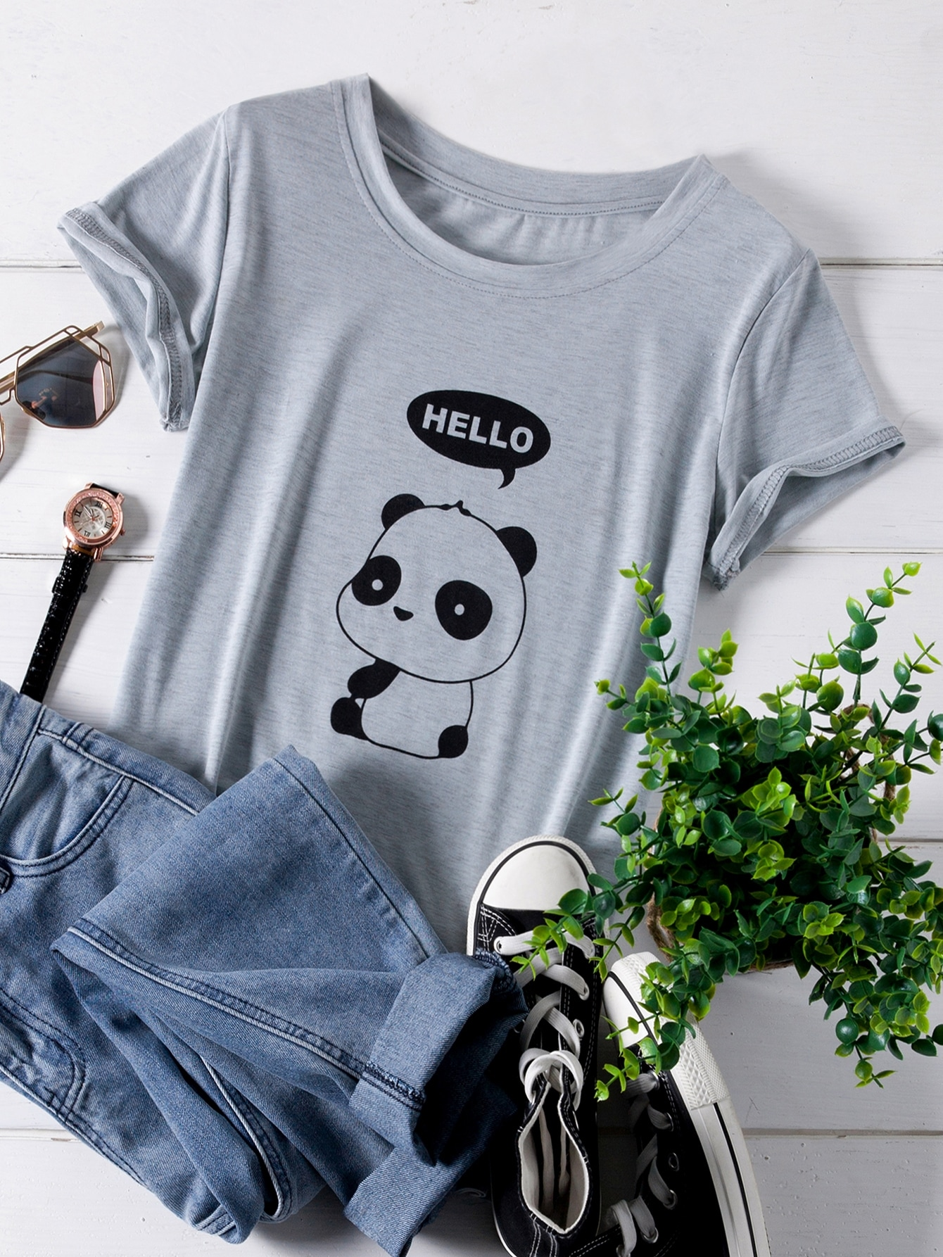 Фото - Размер плюс футболка с графическим принтом от SheIn цвет серые