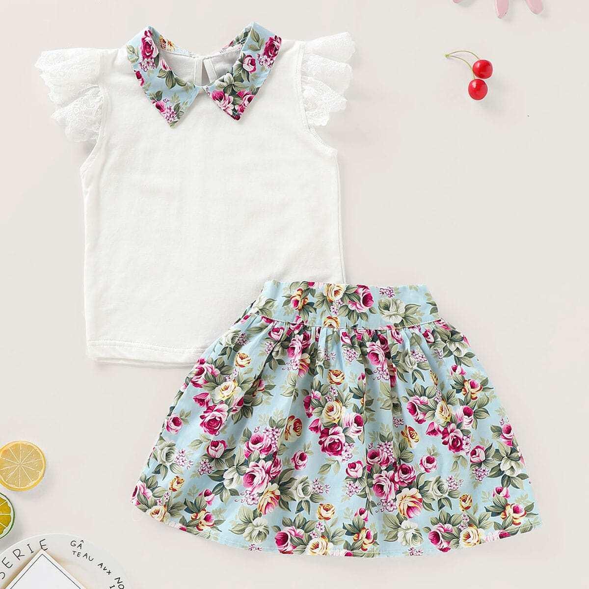 Блуза с контрастным воротником и цветочная юбка для маленьких девочек от SHEIN