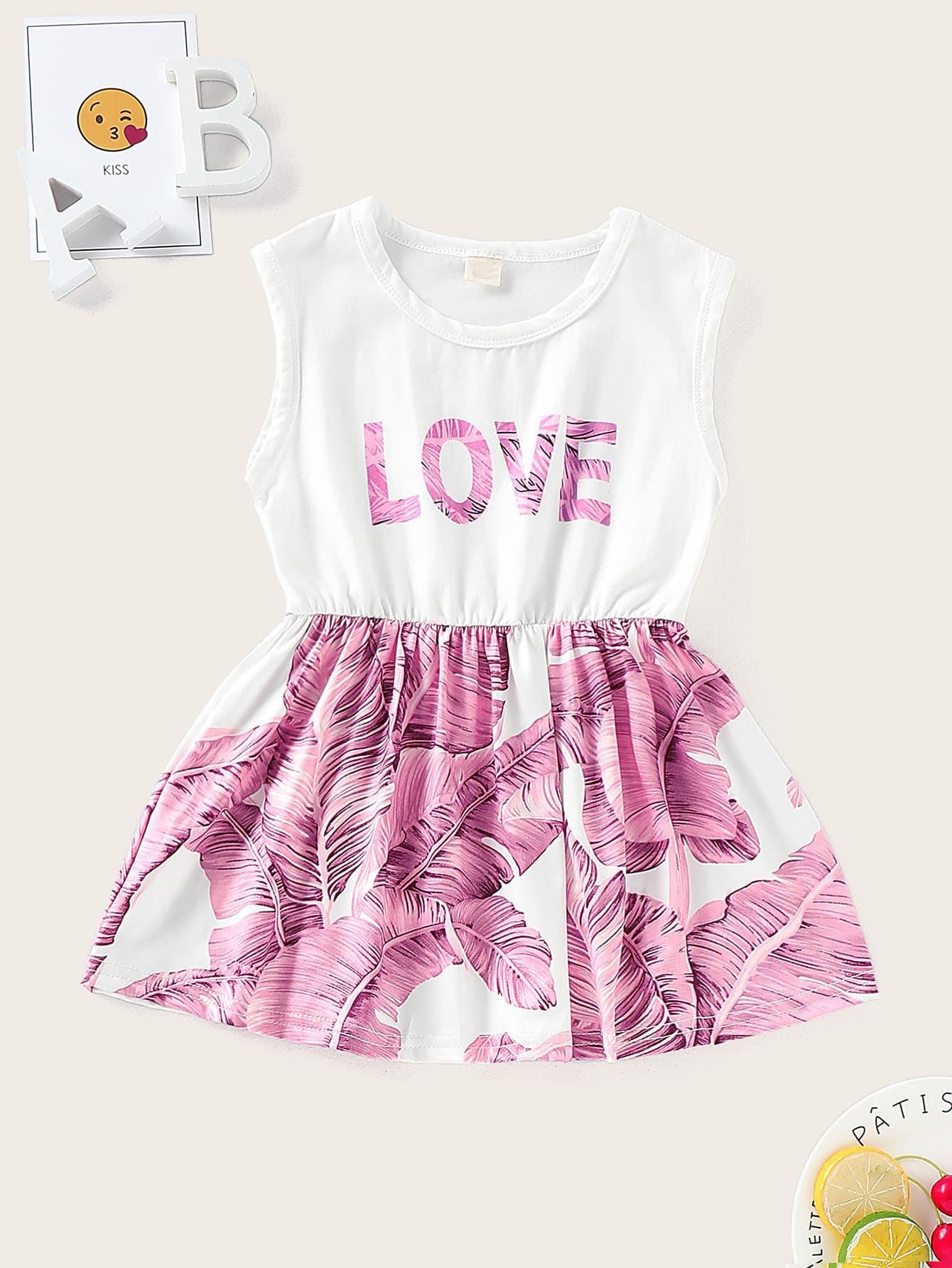 Фото - Платье без рукавов с тропическим принтом для маленьких девочек от SheIn цвет многоцветный