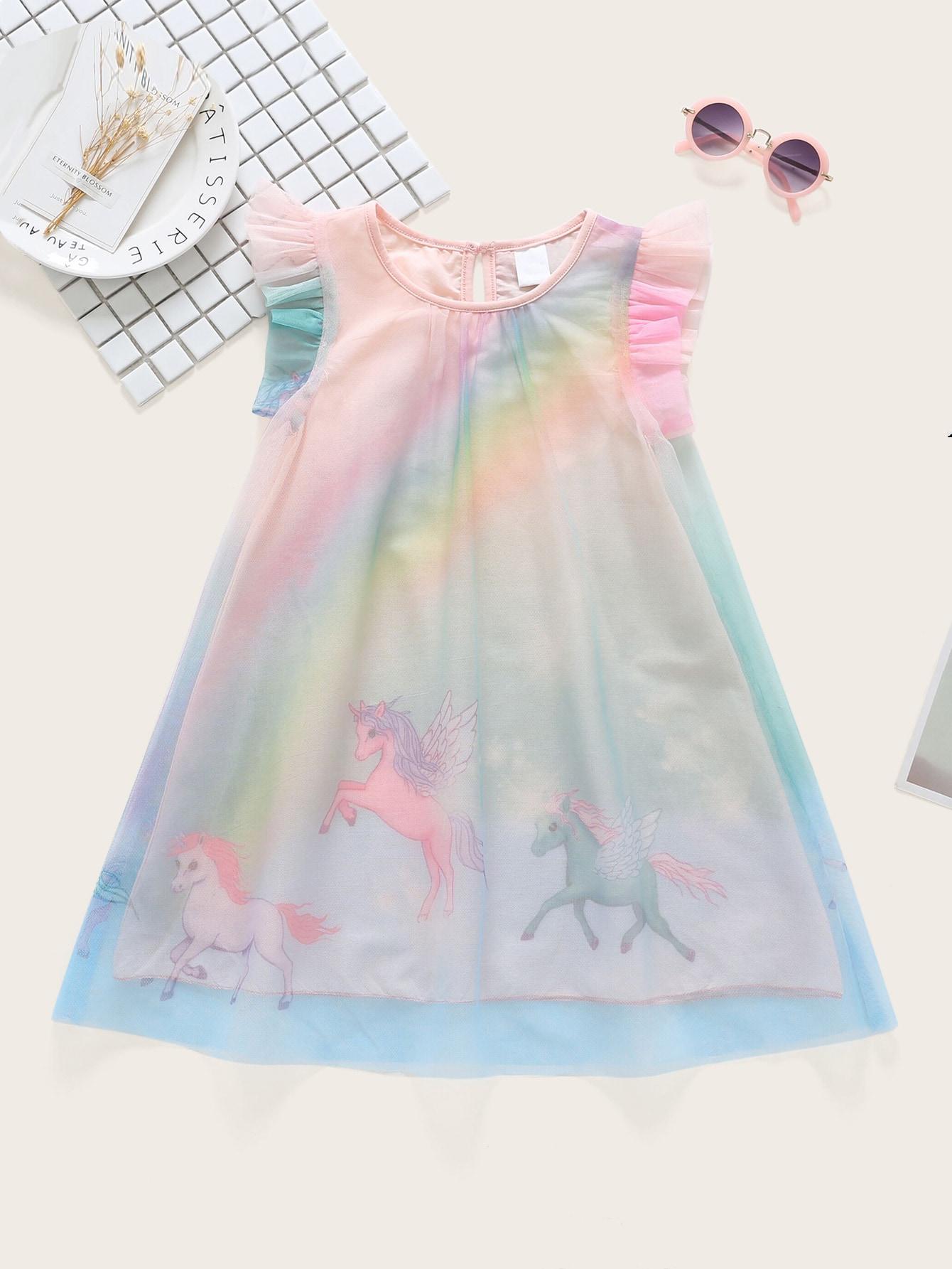 Фото - Контрастное сетчатое платье с принтом лошади для маленьких девочек от SheIn цвет многоцветный