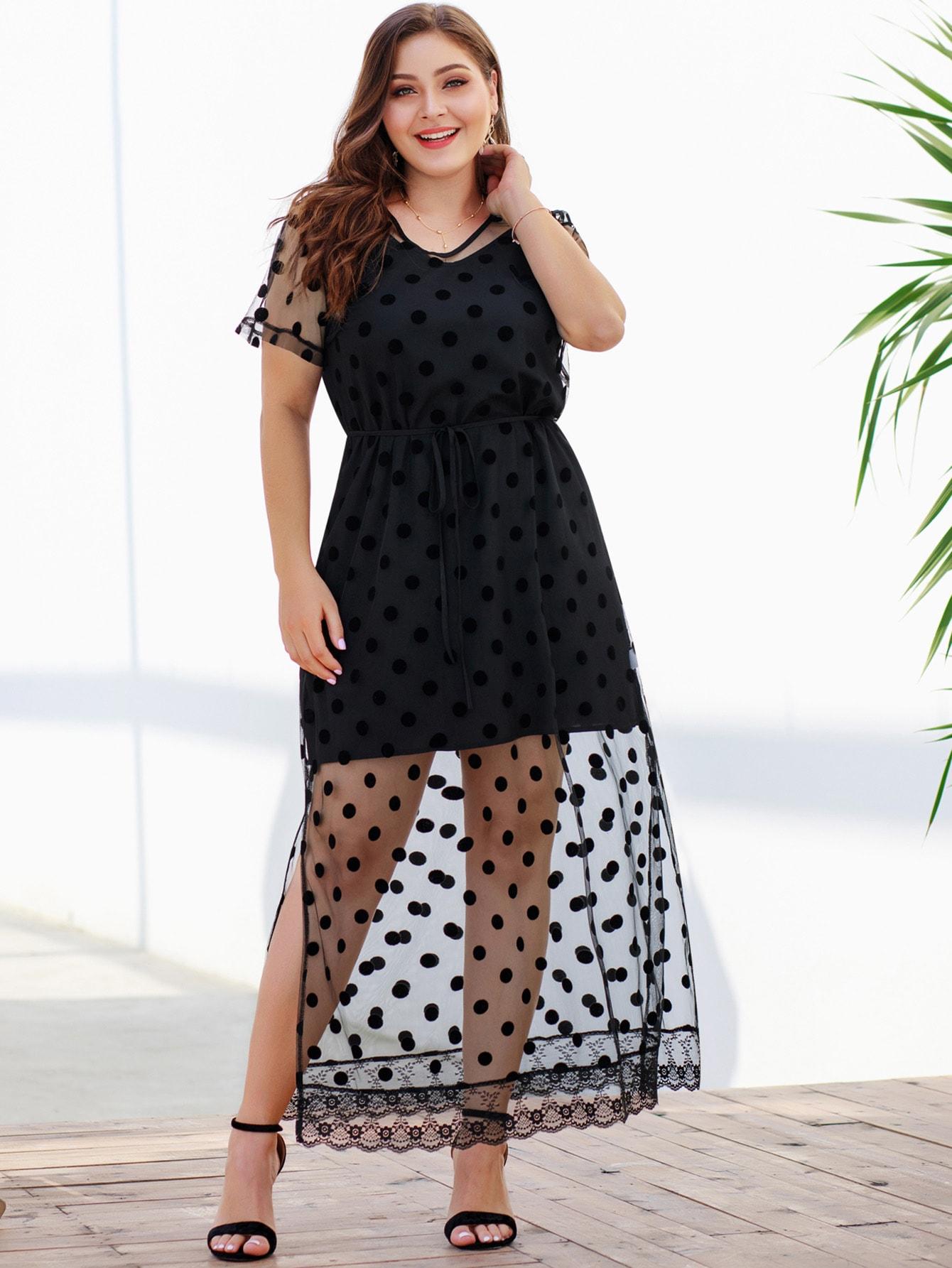 Фото - Размер плюс платье на бретелях и сетчатое платье в горошек от SheIn цвет чёрные