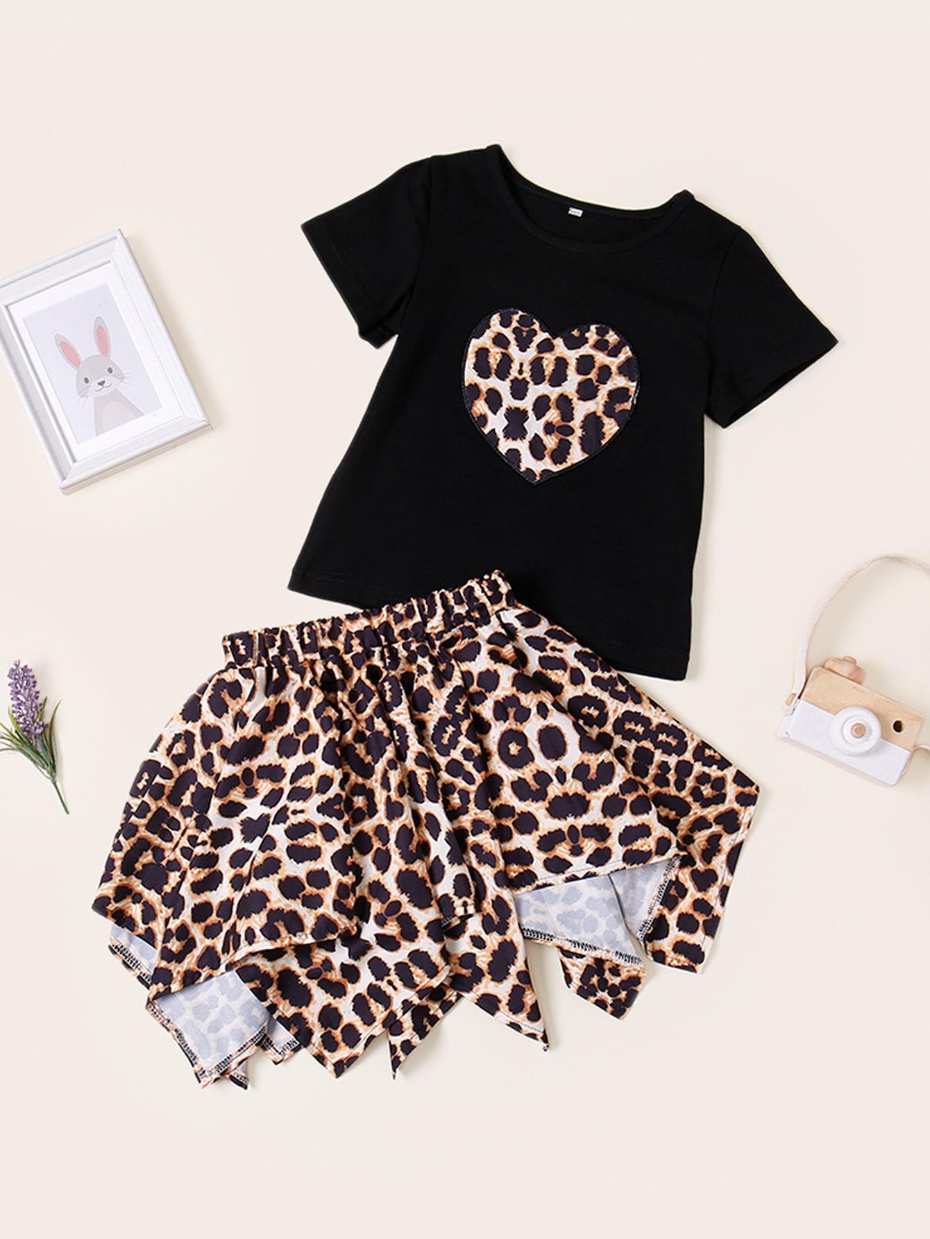 Фото - Футболку и асимметричная юбка с леопардовым принтом для маленьких девочек от SheIn цвет многоцветный