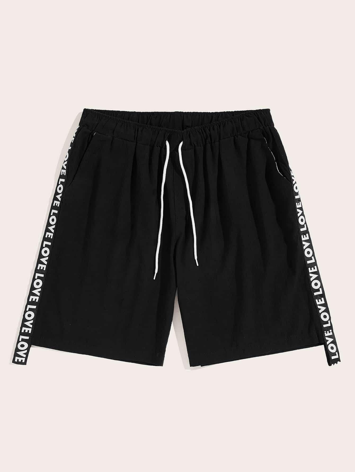 Фото - мужские шорты на кулиске с текстовой лентой от SheIn черного цвета