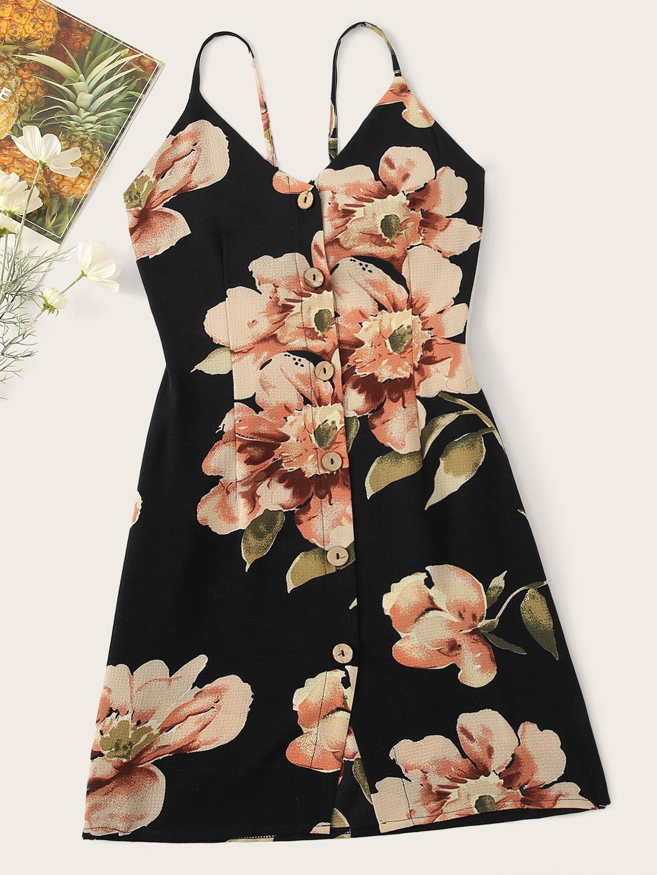 Фото - Платье на бретелях с цветочным принтом и пуговицами от SheIn цвет многоцветный