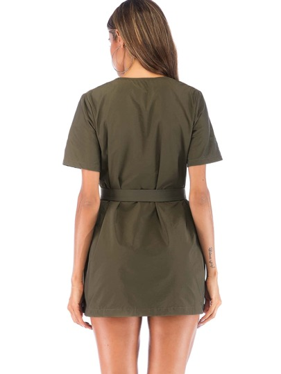 SheIn / Dual Pocket Belted Dress